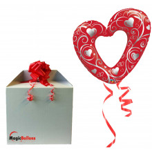 Hearts & Filigree red - folija balon v paketu
